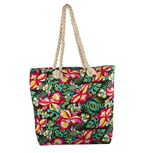 Lux Accessories Lux Accessories Womens Zip Up Beach Bag Forest Print
