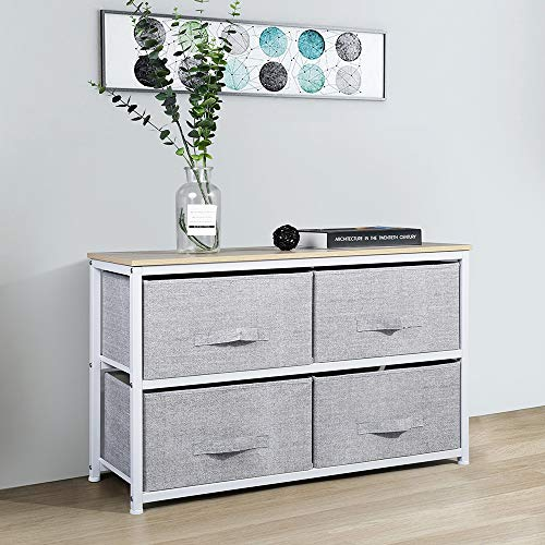 Aingoo Dresser Storage 4 Drawers Storage Bedroom Steel Frame Fabric Wide Dressers Drawers for Clothes Grey Wood Board (2X2 Drawers, Grey)