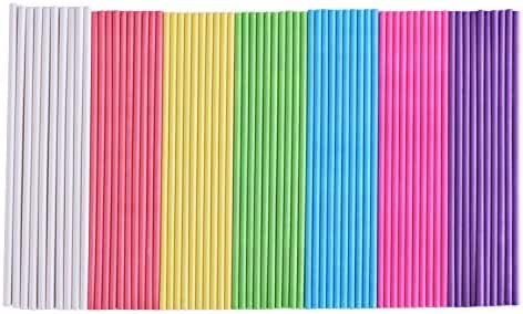 eBoot Lollipop Sticks Paper Colorful Cake Pop Sticks 6 Inch 200 Count (Blue, White, Purple, Yellow, Rose-red, Pink, Green)
