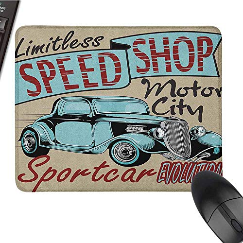 Retro Smooth Mouse pad Surface Nostalgic Advertising Print Antique Sports Auto in Retro Rusty Colors Art Design Non-Slip Rectangular Mouse pad W8 x L9.5 x H0.8 Inch Teal Red Brown