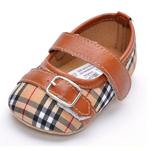 Infant Classical Gingham Leather Fashion Princess Buckle Strap Buckle Strap Baby Girls Shoes First Walkers (1, - Spade Buckle