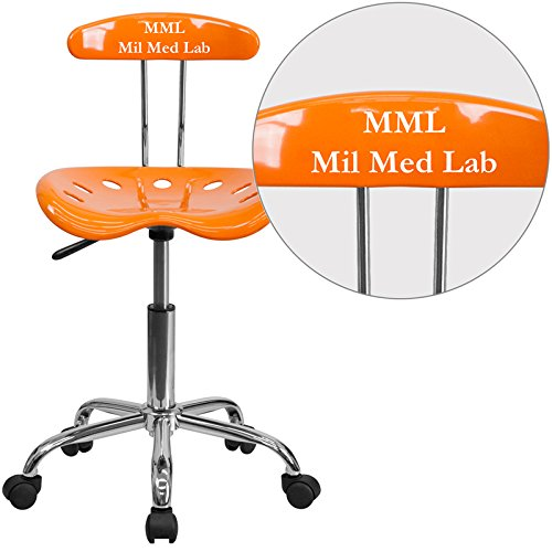 """Personalized Vibrant And Task Chair With Tractor Seat Orange/Chrome/16.5""""L x 17""""W x 34.75""""H"""