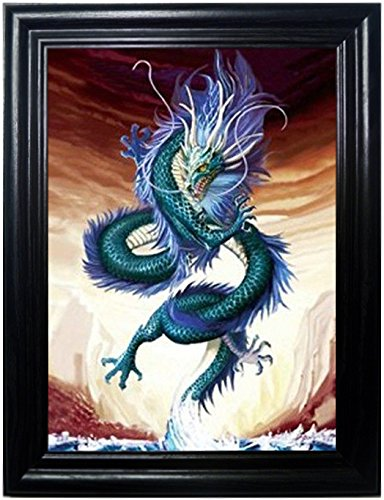 (ASIAN DRAGONS FRAMED Wall Art-Lenticular Technology Causes The Artwork To Flip-MULTIPLE PICTURES IN ONE-HOLOGRAM Type Images Change-MESMERIZING HOLOGRAPHIC Optical Illusions By THOSE FLIPPING)