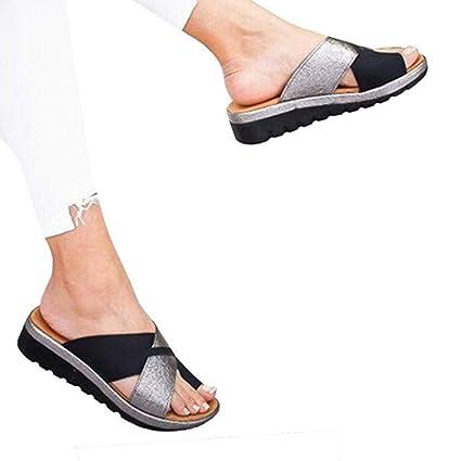 Summer sandals Sandalias de Mujer cómodos Plana Cuero de PU Zapatillas Corrector de juanetes ortopédico Casuales