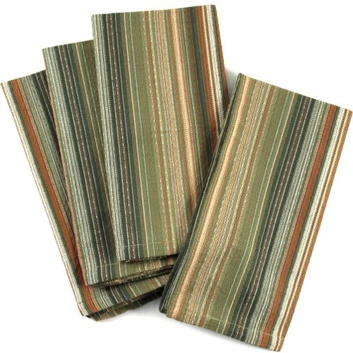 UPC 029441041144, Dark Green And Gold Striped 100% Cotton Dinner Napkins, Set Of 12
