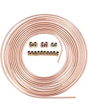 Wobekuy 25Ft 7.62M Roll Tube Coil of 3/16 inch OD Copper Plated Iron Brake Pipe Hose Line Piping Tube Tubing Anti-Rust