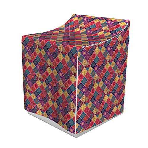 Ambesonne Mandala Washer Cover, Geometric Checkered Pattern with Various Classical National, Easy to Use Bathroom Accent Fabric, 29