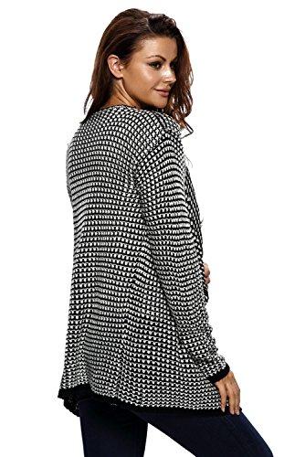 Neuf pour femme Noir et blanc ouvert à l'avant Cardigan Sweat Veste Pull en tricot décontracté chaud Hiver Taille M UK 10–12–EU 38–40
