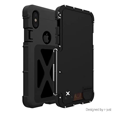online store 6ab03 5d3f2 iPhone X Case,ARMOR KING Stainless Steel Heavy Duty Clamshell Flip Cases  for Apple iPhone X Outdoor Dropproof Shockproof Cover (Black)