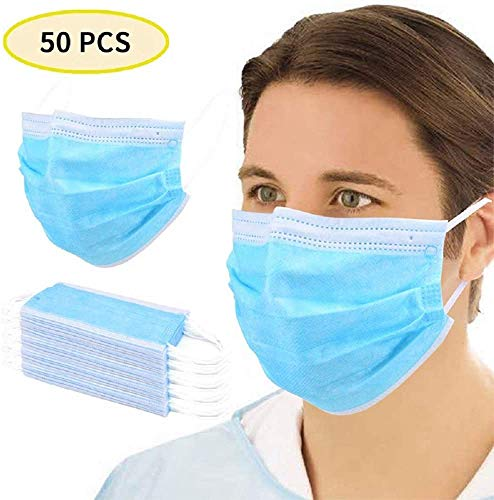 3-Ply Non Woven Face Disposable Protective Durable Earloops High Barrier and Soft (50PCS)