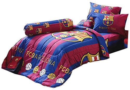 - Tamegems Bedding FCB Barcelona Fc Football Club Soccer Team Official Licensed Bed Sheet Set, 1 Fitted Bed Sheet, 2 Pillow Case, 1 Bolster Case (Not Included Comforter) BC001 Set B (Queen 60
