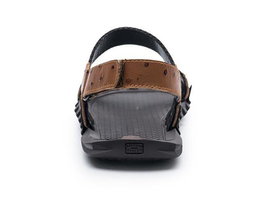 XIE Männer Sandalen Schuhe aus echtem Leder Sandalen Männer Strand Sommer offene Zehe ziehen auf Slipper atmungsaktive Folien rutschfeste weiche Sohlen Größe 38 bis 45 BROWN-EU44 dcd6fd