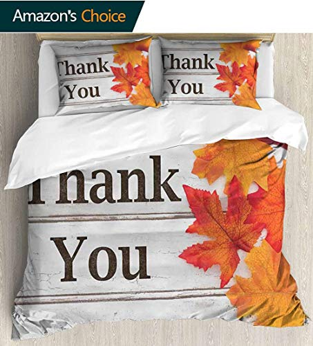 "Forest 3D Bedding Quilt Set,Foliage On Wooden Planks Autumn Dry Maple Fall Leaves Harvest Rustic Reversible Coverlet,Bedspread,Gifts for Girls Women 79"" W x 79"" L Dark Brown Orange Coconut"