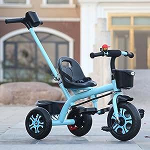 Triciclo de niños de acero con alto contenido de carbono, manija de empuje de altura ajustable ...