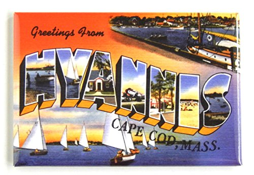Greetings from Hyannis Massachusetts Fridge Magnet (2 x 3 inches) cape cod