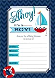 Baby : Ahoy it's a Boy - 24 Nautical Themed Baby Shower Invitations and 24 Envelopes