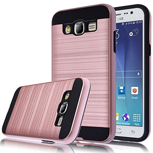 Galaxy J5 Case, Kmall 2in1 [Metal Brushed Texture] Impact Resistant Heavy Duty Hybrid Dual Layer Full-Body Shockproof Protective Cover Skin Shell For Samsung Galaxy J5 J500H J500M [Rose Gold]