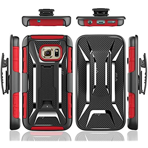 VIUME Hybrid Armor X Style Back Belt Clip Case for Samsung Galaxy S7, Red Sales