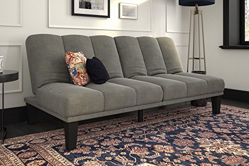 Futon Sleeper Microfiber Sofa (DHP Hamilton Estate Premium Futon Sofa Sleeper, Comfortable Plush Microfiber Upholstery, Rich Grey)