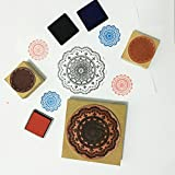 Wood Rubber Stamps, 3 Pcs Round Lace Pattern Stamps, 3.75