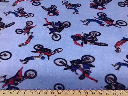 Motocross Dirt Bike Fleece 2 Yard Piece (Bike Fabric Dirt Fleece)