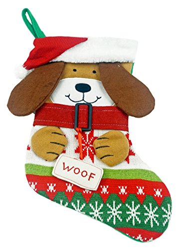 Gerson Puppy Dog Knitted Sweater Christmas Stocking - 16.5