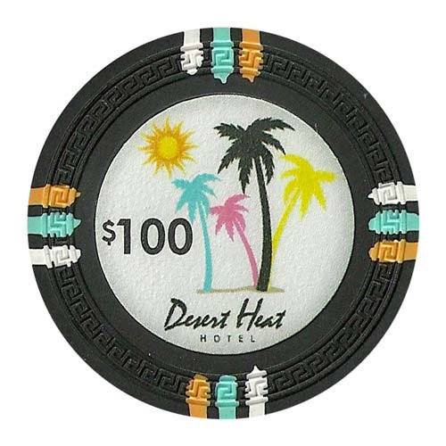 Claysmith Gaming $100 Clay Composite 13.5 gram Desert Heat Poker Chips - Sleeve of - In Palm Malls Desert