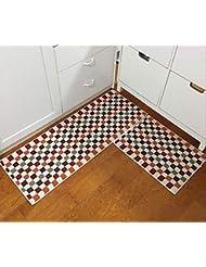 EUCH Non Slip Rubber Backing Carpet Kitchen Mat Doormat Runner Bathroom Rug  2 Piece Sets