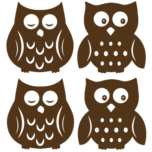 Wall Pops WPSI0842 Owl Silhouettes Espresso Brown Wall Decals, 4 (Owl Silhouette)