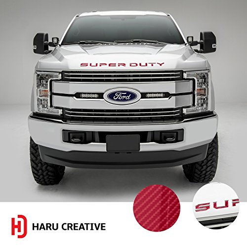 Haru Creative - Hood Grille Letter Insert Overlay Vinyl Decal Sticker Compatible with and Fits 2017 2018 Ford Super Duty F250 F350 F450-6D High Gloss Carbon Fiber Red