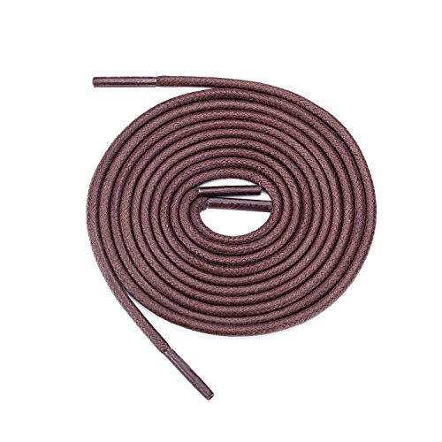 """Cabepow Brown Waxed Round Shoelaces 23.6"""" for Dress Shoes, Boots, Oxford Shoes, Derbies shoes - 3 Pair"""