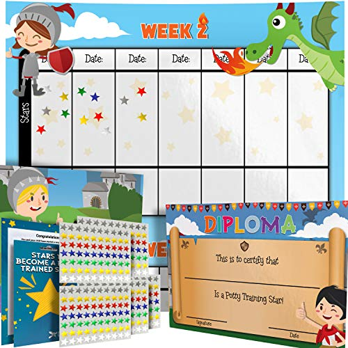 (Potty Training Chart - Reward Sticker Chart - Dragon Theme - Marks Behavior Progress - Motivational Toilet Training for Toddlers and Children - Great for Boys and for Girls (Boys Theme))