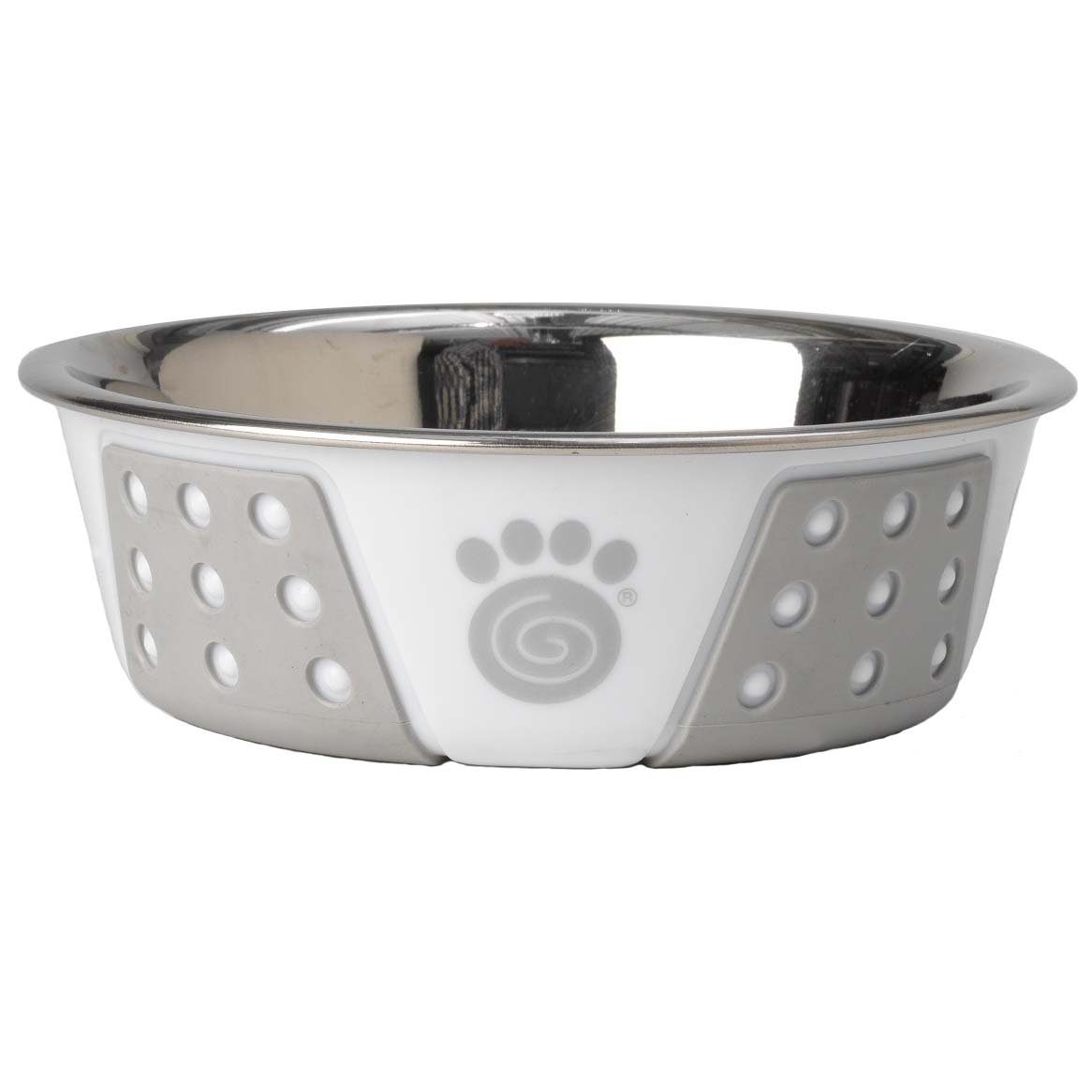 PetRageous Fiji 1.75 Cups Stainless Steel Bowl in White/Light Gray