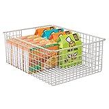 mDesign Wire Organizing Storage Basket with Built-In Handles - 16'' x 12'' x 6'', Satin