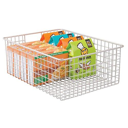"mDesign Wire Organizing Storage Basket with Built-In Handles - 16"" x 12"" x 6"", Satin"