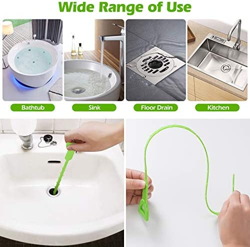 Drain Sink Snake, 5 Pack 20 Inch Hair Drain Clog Remover Cleaning Tool for Sink Toilet Kitchen Clogged Drains Bathroom Tub (Green)