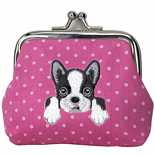 Boston Terrier Purse - [ BOSTON TERRIER ] Cute Embroidered Puppy Dog Buckle Coin Purse Wallet [ Hot Pink Polka Dots ]