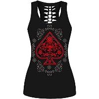 Poker Spade Patrón sin Mangas Volver Hueco Atractivo de Las Mujeres del Chaleco de Las Tapas de Calle Camisa sin Mangas