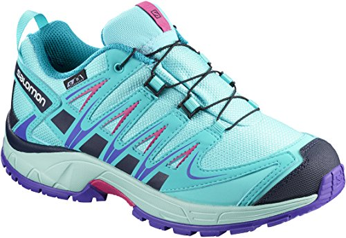 Salomon Unisex-Kids XA Pro 3D CSWP J Trail Running Shoe, Blue Curacao, 4 M US Big Kid Salomon Kids Xa Pro Shoe