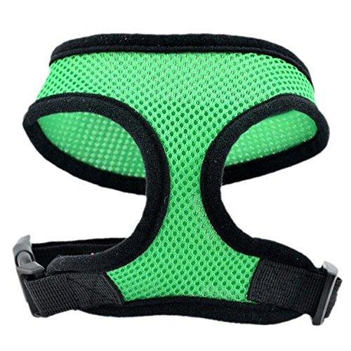 Farjing Dog Harness Soft Mesh Vest Dog Lead Leash Chest Belt(XS,Green)