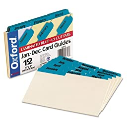 Oxford : Laminated Index Card Guides, Monthly, 1/3 Tab, Manila, 4 x 6, 12/Set -:- Sold as 1 ST