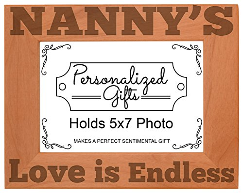 ThisWear Nanny's Love is Endless Natural Wood Engraved 5x7 Landscape Picture Frame Wood