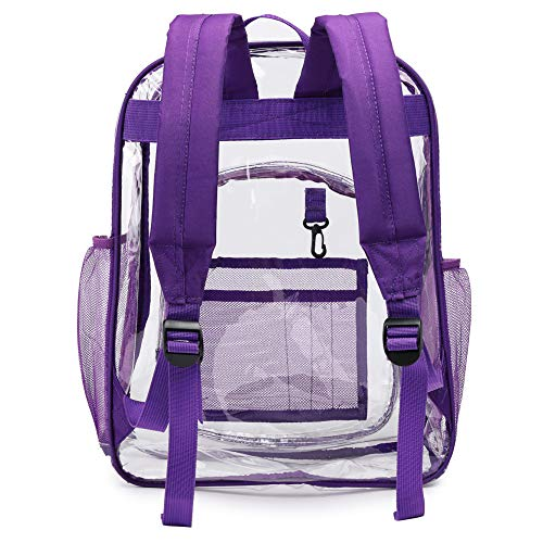 Transparent Backpack, Packism Heavy Duty Clear Backpack for School with Reinforced Straps, Water Resistant Large Opening Durable Student Book Bag Fits Security, Stadiums, Purple