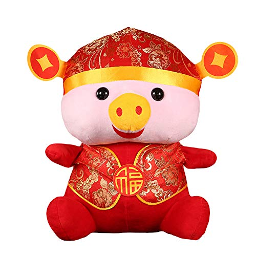 (Fashion Toys-Chinese 2019 New Year Mascot Tang Suit Pig Doll Plush Toy Home Decor Kids Gift - Red 20cm )