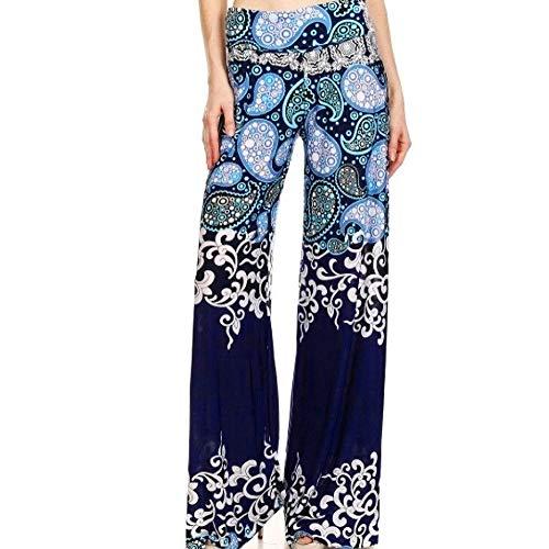 Leggings Cargo Capri (TAORE Leggings Women Causal High Waist Skull Print Wide Calf Length Long Leg Pants (XL, S02-Navy))