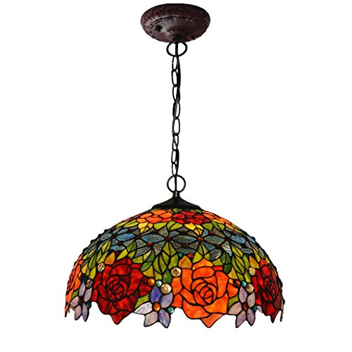 Bieye L10294 18-inches Rose Tiffany Style Stained Glass Ceiling Pendant Fixture (Two-Tone) (Light Glass Rose Pendant)