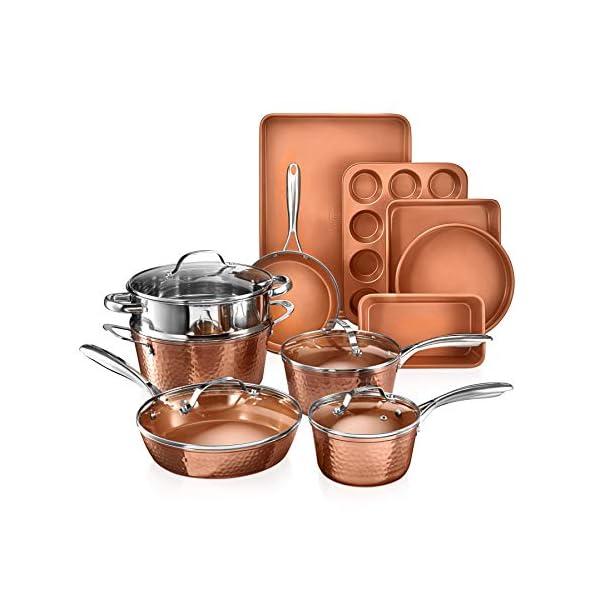 Gotham Steel Hammered Copper Collection – 15 Piece Premium Cookware & Bakeware Set with Nonstick Coating, Aluminum… 1