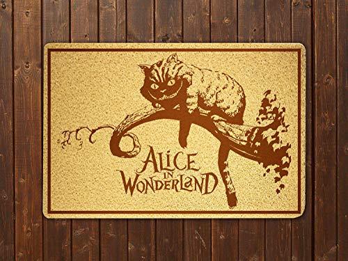Alice in Wonderland Cheshire Cat Cartoon Movie Doormat Door Mat Sweet Home Supplies Décor Accessories Unique Gift Handmade Present Idea Original Design Commercial Outside Inside Personalized Quotes]()