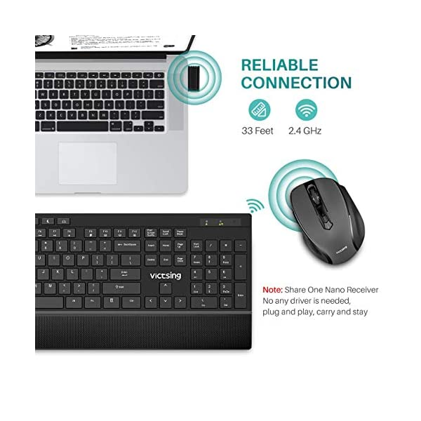 VicTsing Wireless Keyboard and Mouse Combo with 7 Independent Multi-Function Keys, Ultra-Slim Keyboard with Palm Rest…