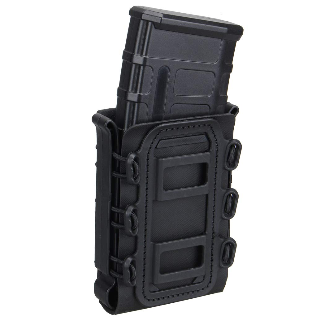 IDOGEAR 5.56mm 7.62mm Tactical Magazine Pouch Airsoft Hunting Shooting Molle Fastmag Soft Shell Mag Carrier Bag (Black)
